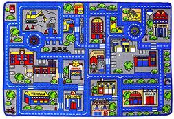 Mybecca Kids Rug Town Map 3' X 5' Children Area - Non Skid B