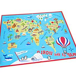 HEBE Kids Rug World Map Educational Children's Play Mat Lear