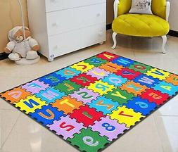 Kids Rugs For Kids Room ABC Puzzle Letters/Numbers Kids Educ