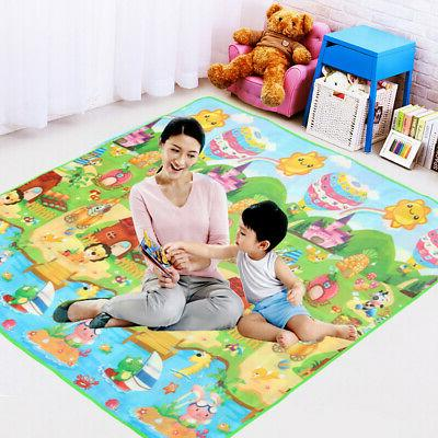 2Mx1.8M Floor Play Rug Baby Kids Crawling Game Two Sides