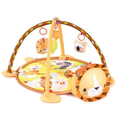 3 Cartoon Lion Baby Infant Activity Gym Play Mat w Hanging Toys Ocean Ball