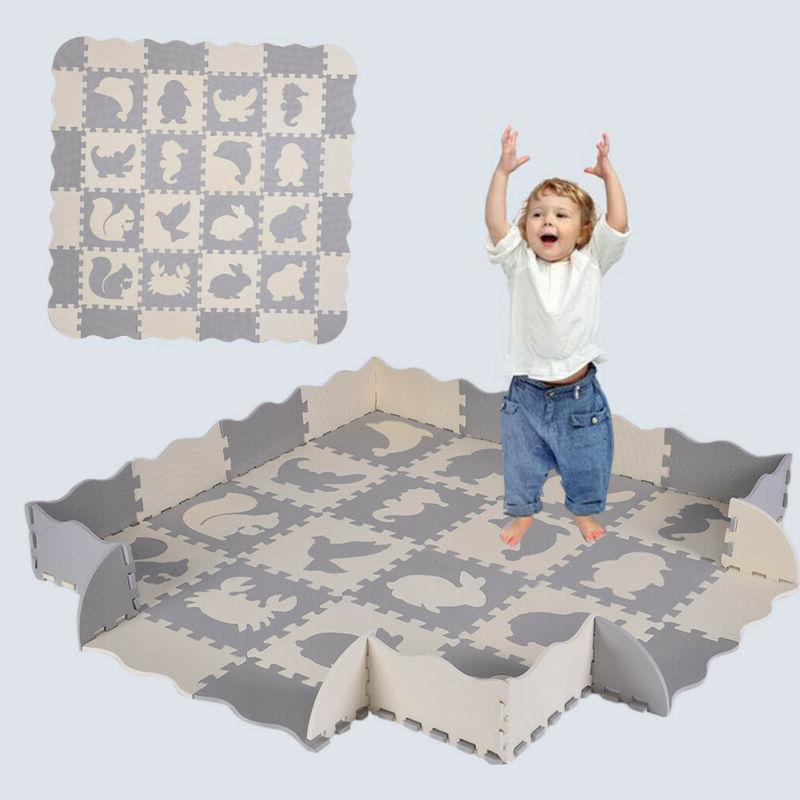 Baby Large Play Mat EVA Foam Floor Activity Soft Toy Kids Gy
