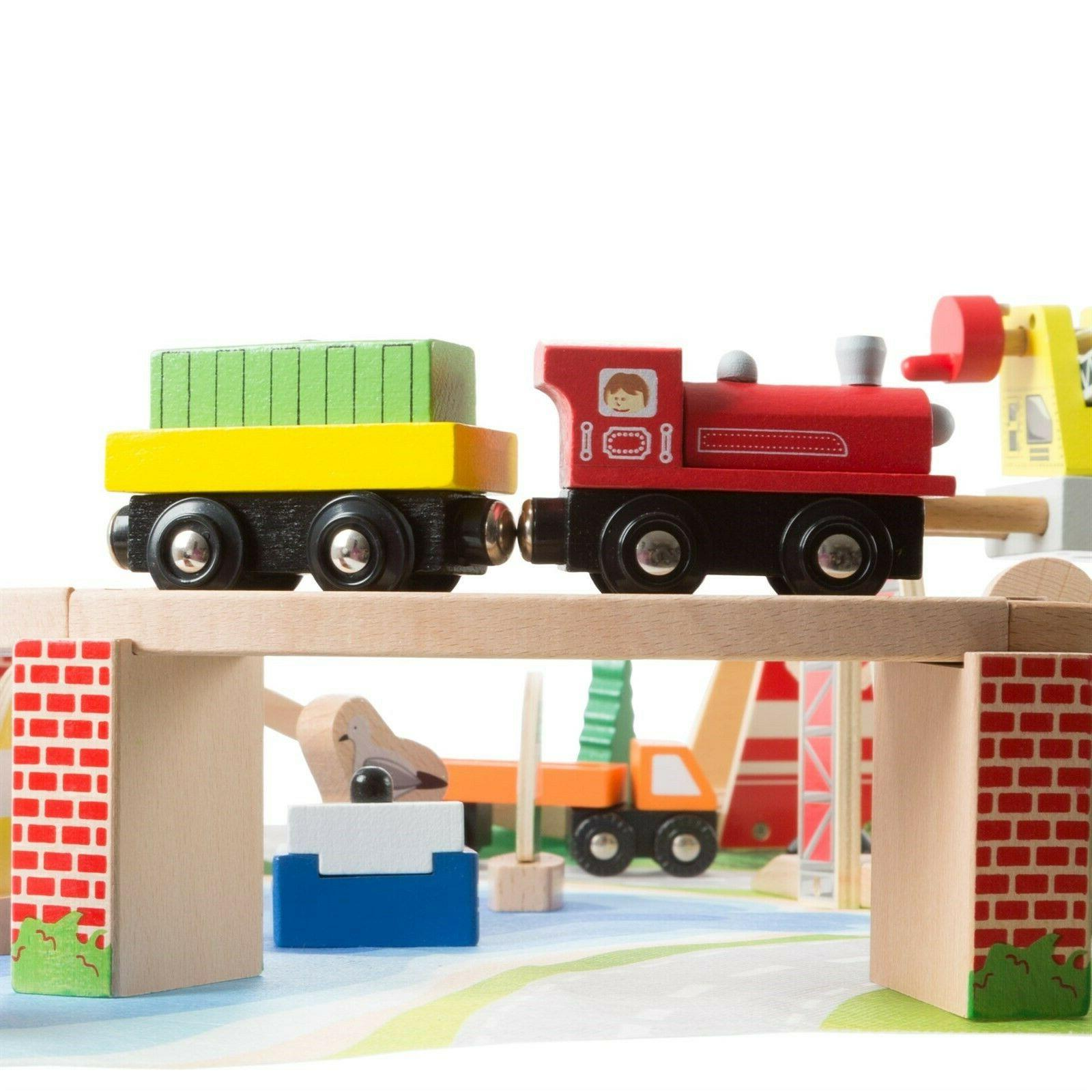 65 Pc Play Wooden Train Accessories and Play 33