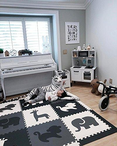 SoftTiles Foam Mat Theme- Nontoxic Puzzle Mats for Children's Playrooms or Baby Floor for SCSAFBGW