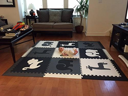 SoftTiles Mat Safari Theme- Nontoxic Mats for or Baby Large Floor Tiles for SCSAFBGW
