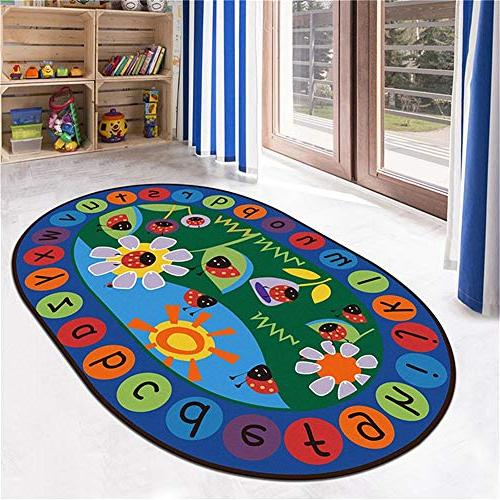 LISIBOOO ABC Ladybird Alphabet Rug,Non-Slip Vibrant Oval Mat,Multicolor Child Large Carpet,for Baby Room Living