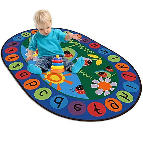 LISIBOOO ABC Alphabet Vibrant Oval Mat,Multicolor Large Baby