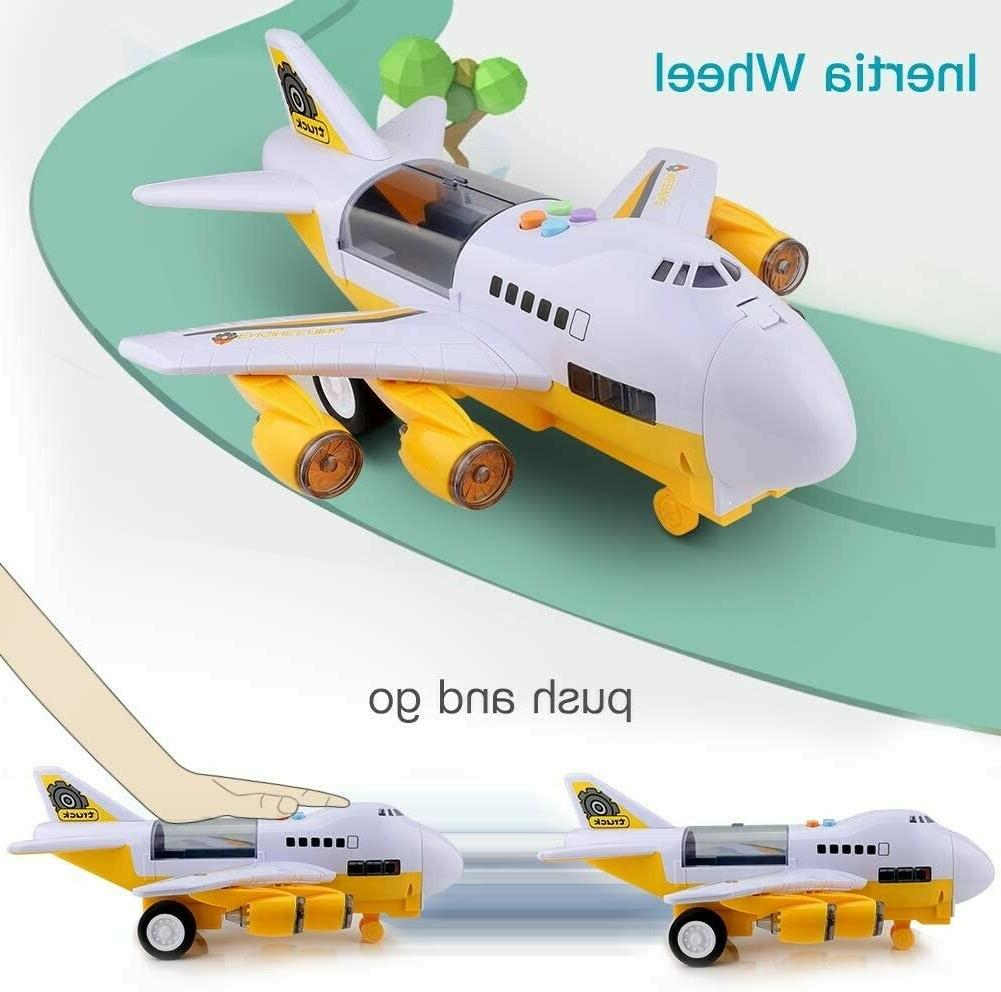 Airplane and Large Play Metal Toy Car Set Transport for