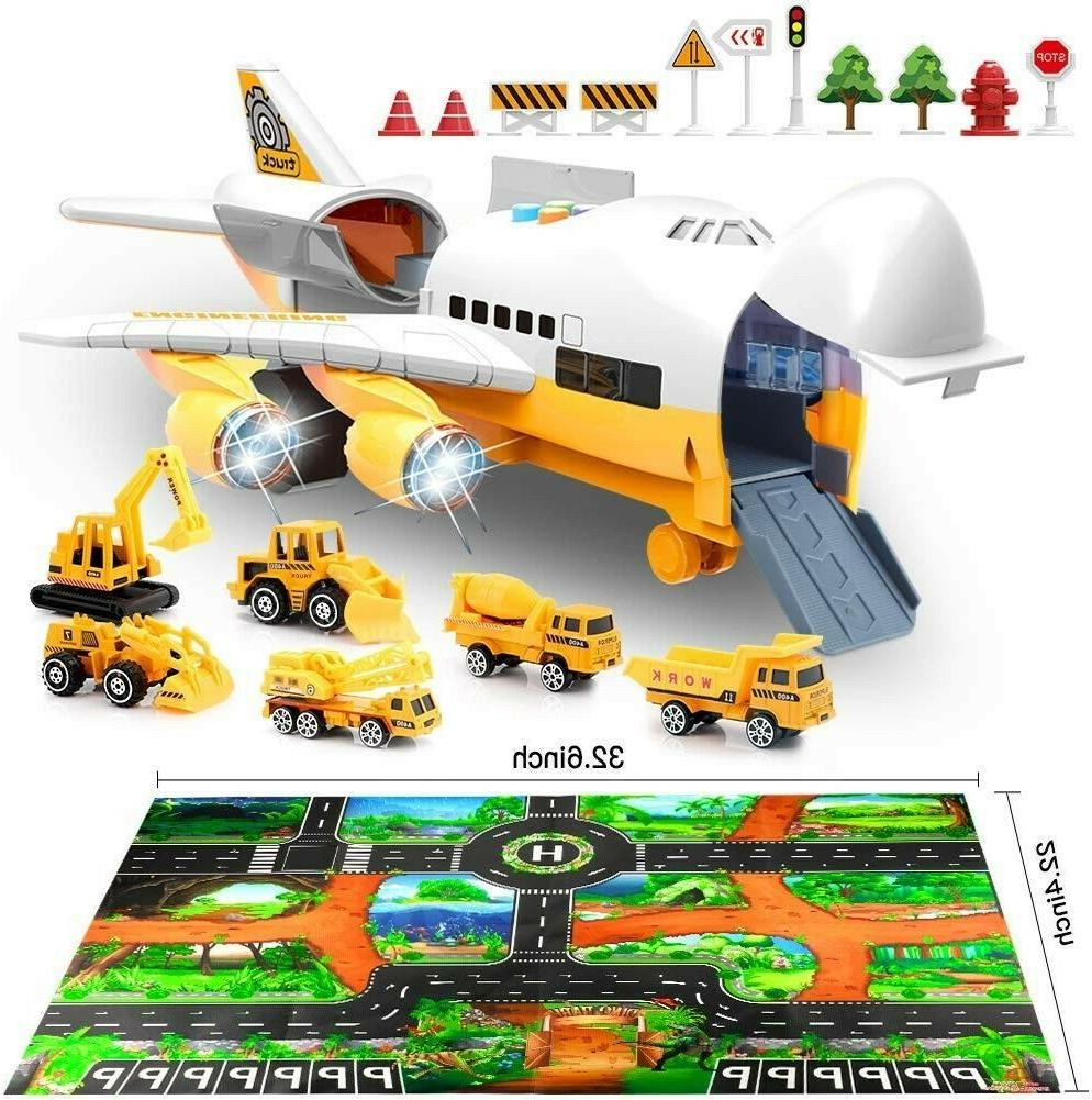 airplane and large play metal mat vehicle