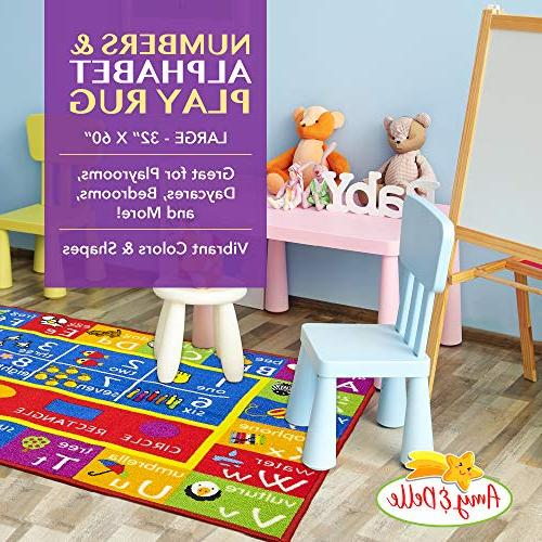 Alphabet Numbers Play Rug Educational and Fun - Bedroom, Nursery Classroom Carpet Runner Shapes Designs &