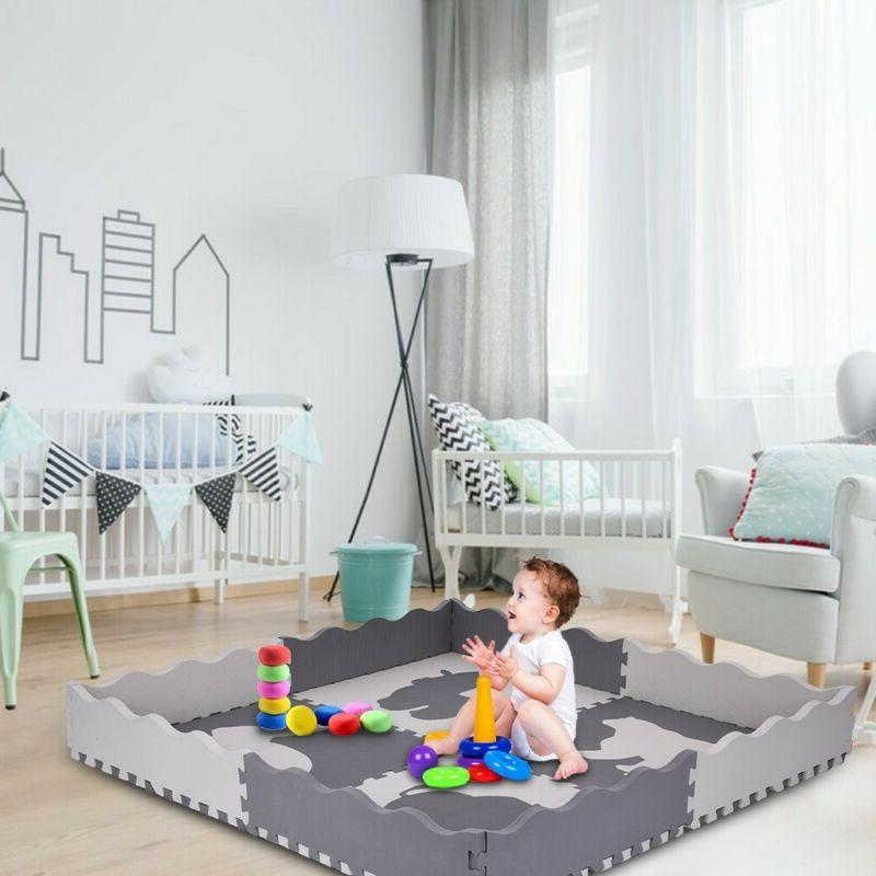 Large Baby Play Mat Set Kids Safe Extra Thick Foam With Gate