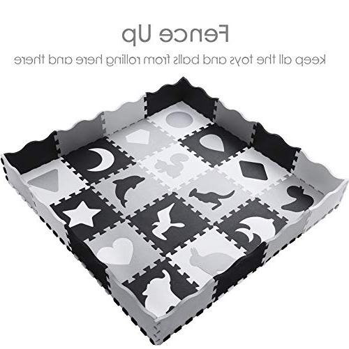 Fence Interlocking Foam with Patterns | Crawling Mat for Playroom & Color for & Kids