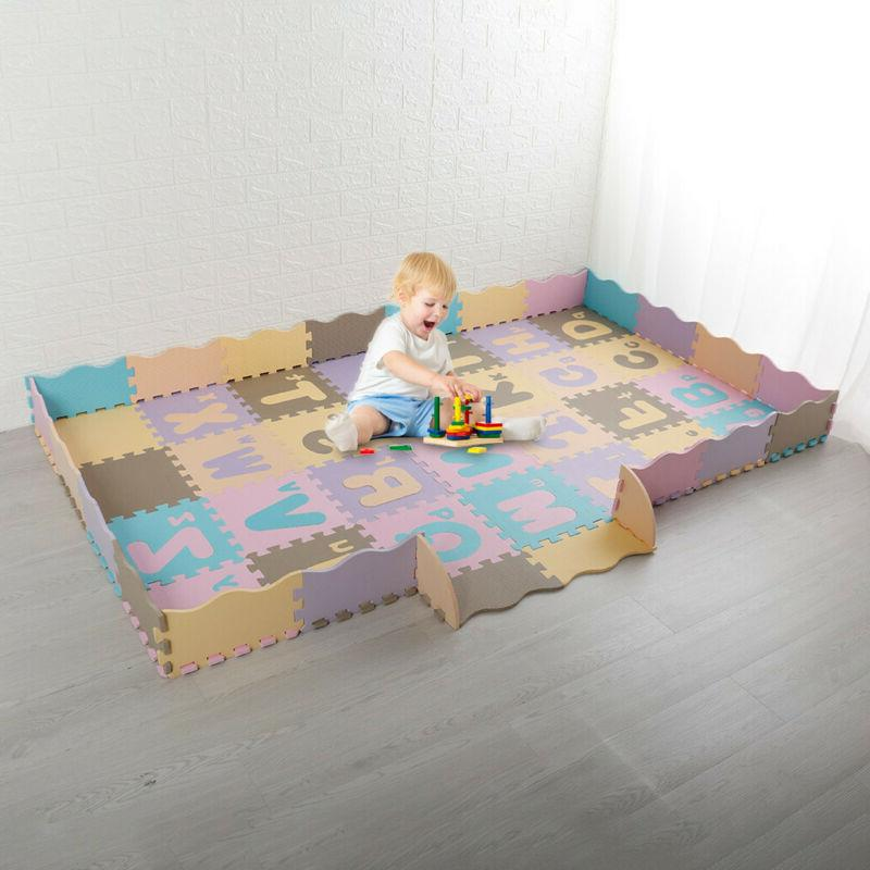 NEW Baby Play Mat With Fence Interlocking Foam Floor Tiles W