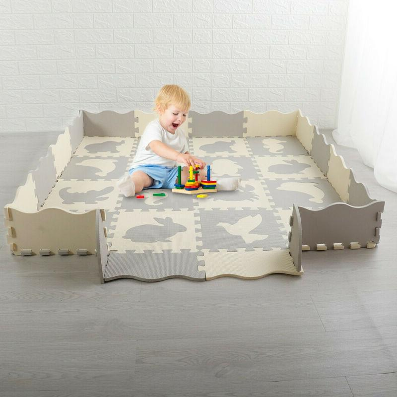 US Baby Play Mat Non-Toxic Extra Foam with Fence Crawling
