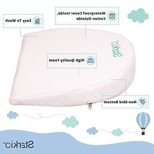 Starkio Bassinet Gentle 12 Degree for Night's Sleep. Baby Congestion. Fully Waterproof Layer with Removable Cotton Cover