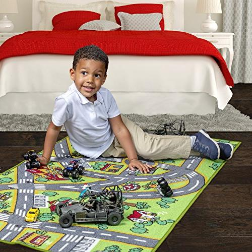 Kids Life Large Learn Have Fun Safe, Traffic System, Multi Color Activity Centerp Mat! Great Playing Cars For