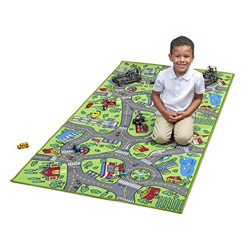 Kids Carpet Life Large Learn & Safe, Road Traffic Multi Color Activity Centerp Play Mat! Great Cars For Playroom