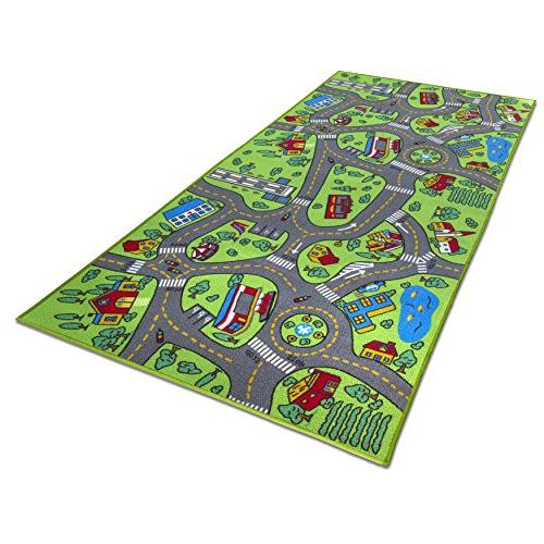 """Kids Carpet 80"""" x 40"""" City Life - & System, Mat Rug Playing with Bedroom Playroom,"""