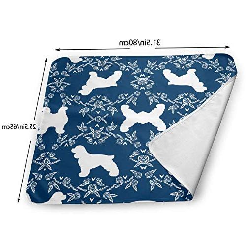 LXXYZ Cocker Spaniel Dog Breed Florals Navy Baby Changing Pad Portable Comfort Station Newborn Baby, Baby Showers Changing Mats and Reusable Able