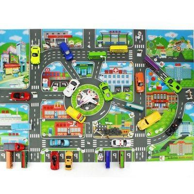 Children Kids Rugs Town Road Map City Cars Toy Rug Play Village Mat 58 x 83cm US