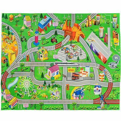 Double Sided Kids Play Mat Trains Roads Rug for Toddlers Rai