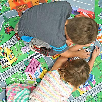 DOUBLE SIDED MAT Trains Play Rug City Toys
