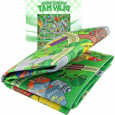 double sided kids play mat trains roads