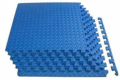 """Prosource Extra Thick Puzzle Exercise Mat 1/2"""" Blue Wrestlin"""
