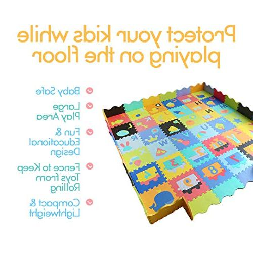 Baby Foam with Fence - Interlocking Alphabet 36 Foam Floor Tiles