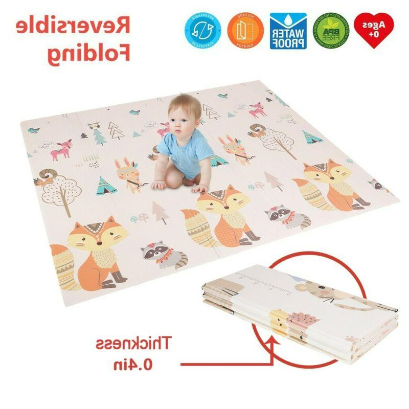 Baby Foldable Play Mat Soft Reversible Crawl Foam Mats For C