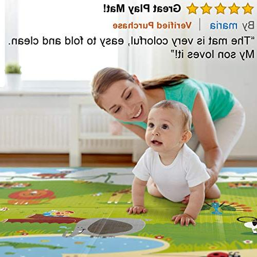 Hape – Tummy Folding Reversible Mats for Playing Non Foam for Infants or w/