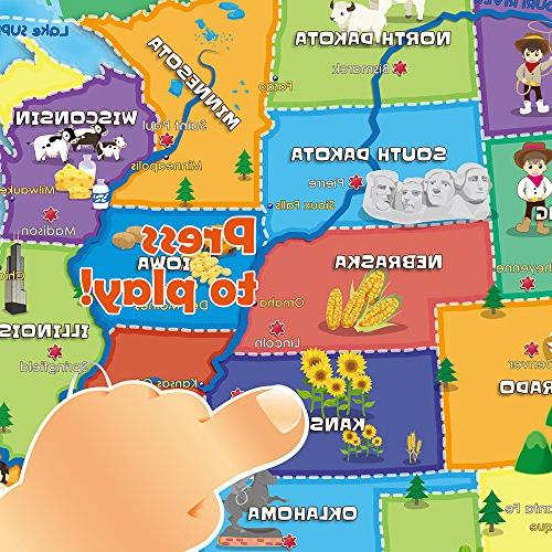 USA Interactive Map Educational Talking for Boys and 5 to 12 Old - Gift for