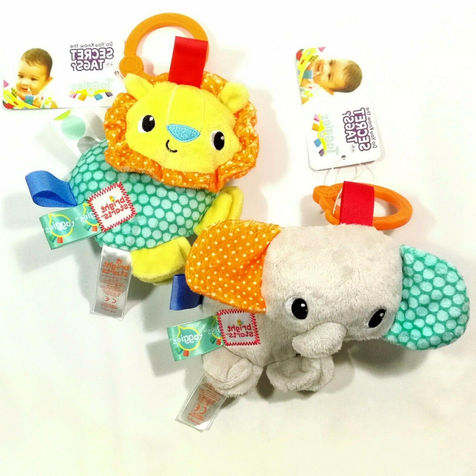 2× Infant Baby Kid Taggies Bright Starts Soft Rattle Attach