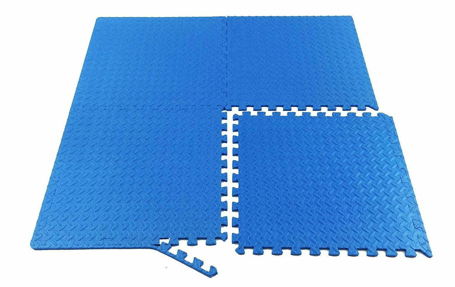 Interlocking Rubber Gym Fitness Exercise Floor Mat 24 SQFt