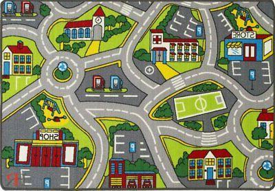 Kids Car Rugs City Map Play for Room Non-Slip Rubber...
