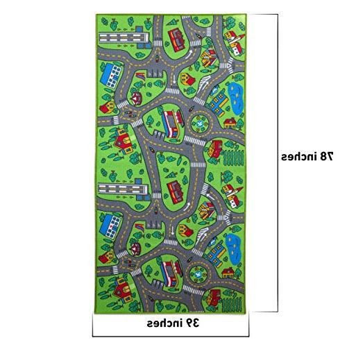 """Kids 80"""" x 40"""" & Children's Road System, Color, Mat Rug Great Playing Cars, Playroom,"""
