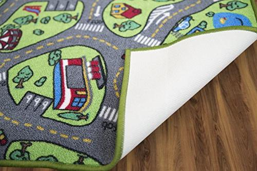 """Kids Carpet 80"""" 40"""" City Life & Have Fun Children's Educational, Traffic System, Multi Color, Mat Rug Playing with Playroom,"""
