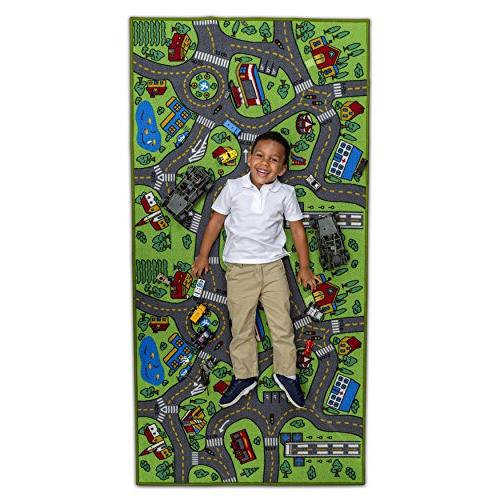 """Kids Carpet 80"""" x 40"""" City Life - & Have Safe! Children's Educational, Road System, Multi Mat Playing with Cars, Playroom,"""