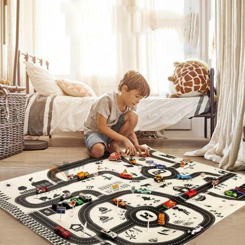 kids children city road play mat car