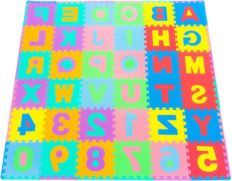 Prosource Kids Puzzle Alphabet, Numbers, 36 Tiles And Edges