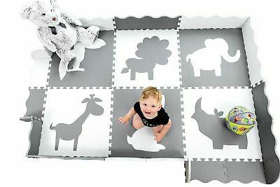 large foam baby play mat with fence