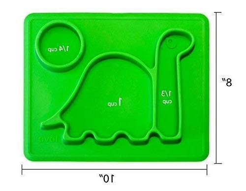 """Silicone - Toddler Plates"""" The Happy Good Dino PAD"""" from to to Fits Bag."""