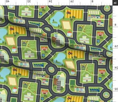 Map Roads City Country Mat Printed Spoonflower