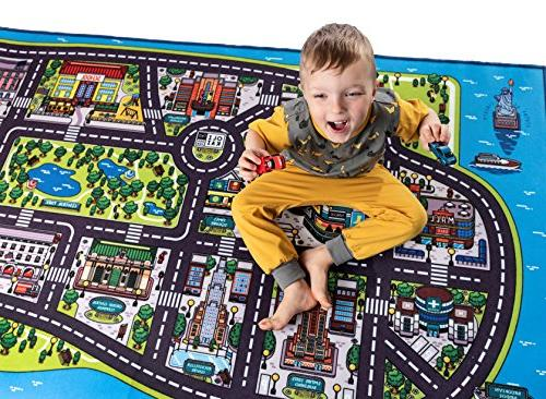 Play Mat for A Large, Road and Car of City. Unique, Educational, Floor for Children, Toddlers. Ideal mats in or