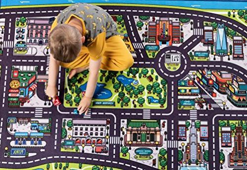 A Road Car with of New York City. for Toddlers. Ideal mats for Cars, in Bedroom or Activity Room