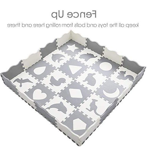 Baby Mat Fence Interlocking with 16 Patterns Crawling Mat for & Nursery | Neutral Color for Toddlers &