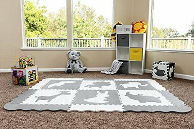 Baby Play Large Interlocking Foam Floor Tiles. Grey and White Non Baby, Toddler Kids. Neutral Nursery, or