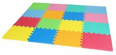ProSource Puzzle Solid Play Mat for Kids - 36 16 tiles with