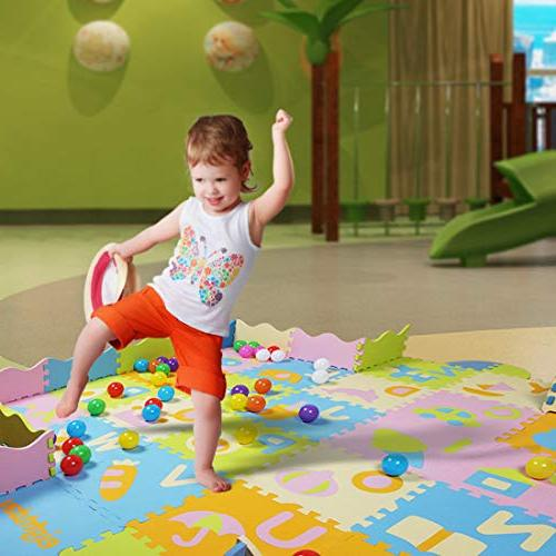 AIMERDAY Baby Mat with Fence, Extra Thick Kids Playmat Interlocking Foam Floor Patterns for Toddlers