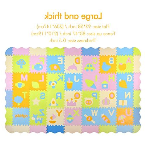 AIMERDAY Mat with Extra Non-Toxic Kids Playmat Interlocking Foam Floor Tiles with 28 Patterns Alphabet Mat for Playroom Nursery Toddlers Infants